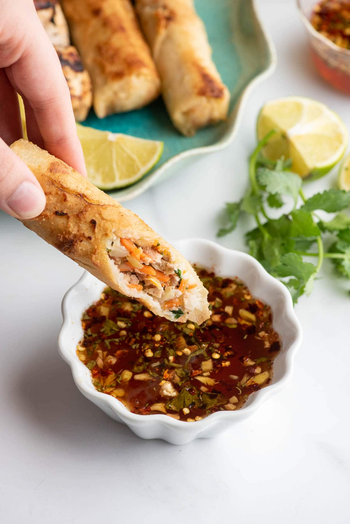 egg roll and thai dipping