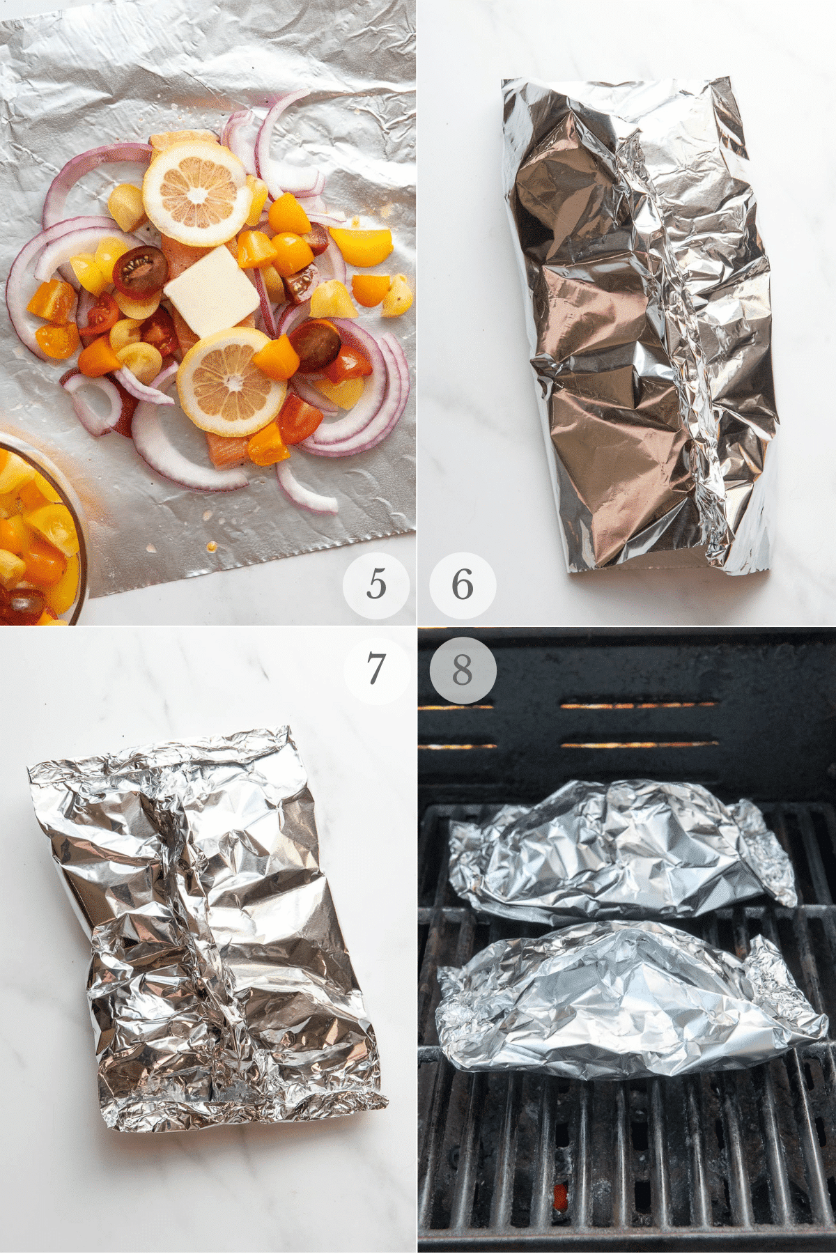 grilled salmon in foil recipe steps 5-8