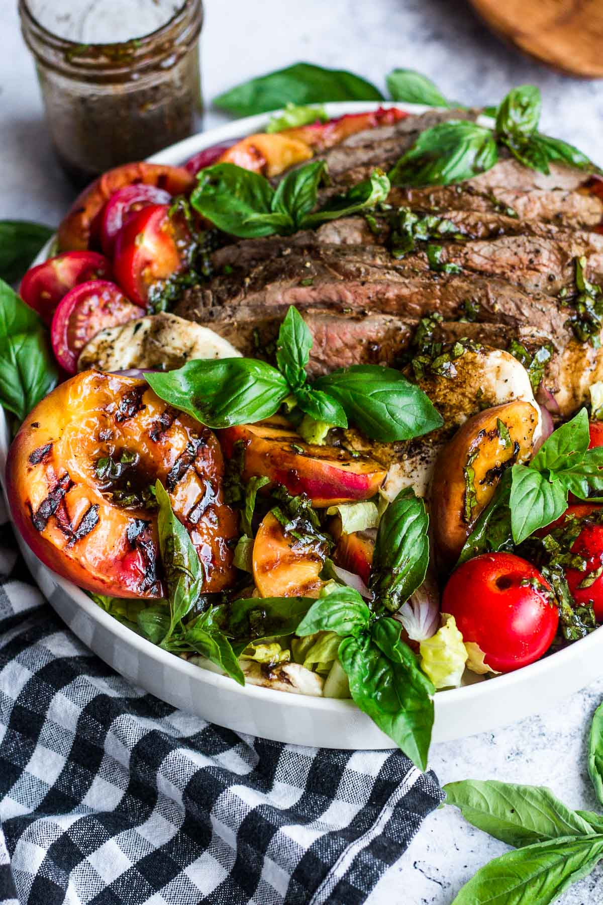 grilled steak salad with grilled peaches