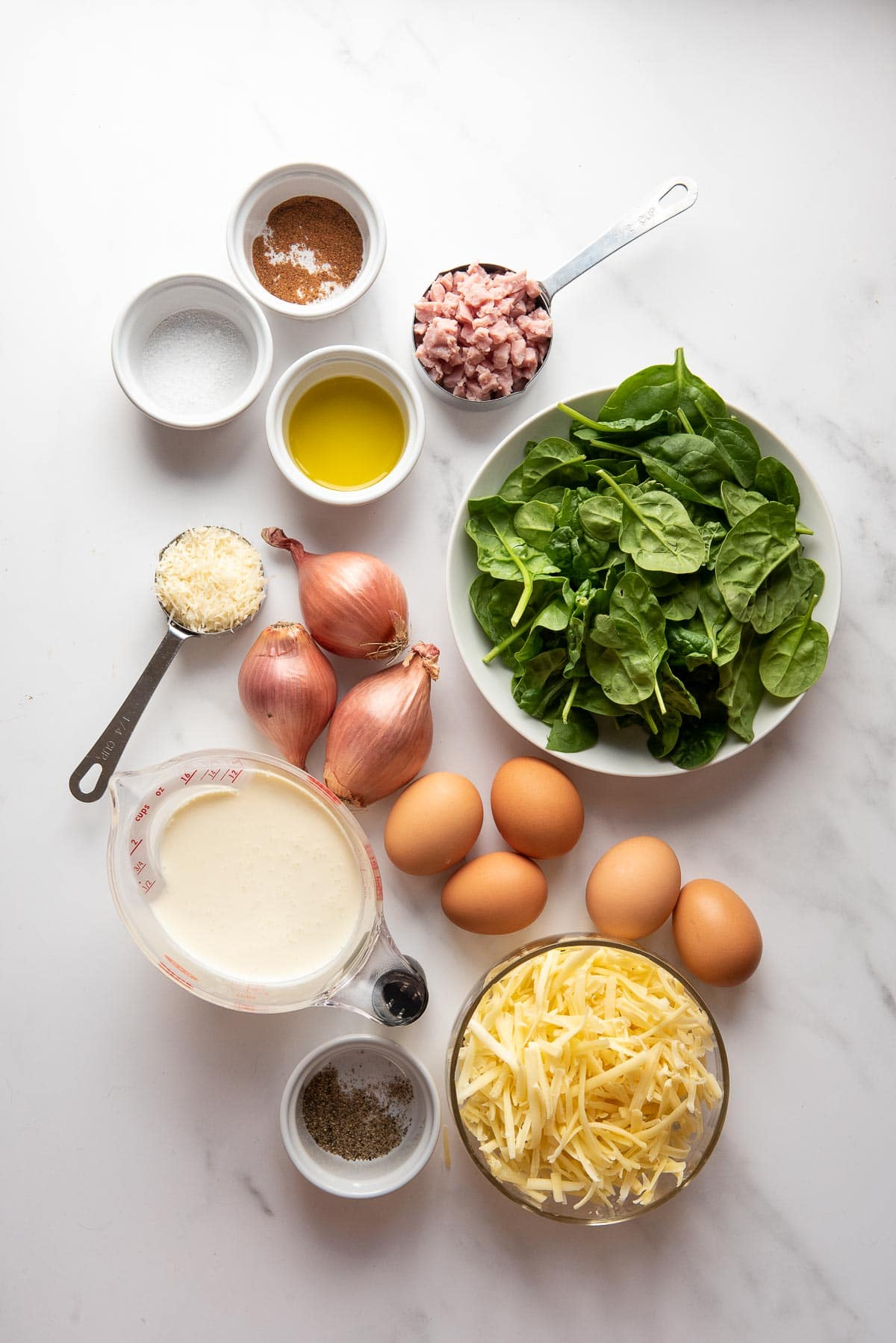 ham and spinach crustless quiche ingredients