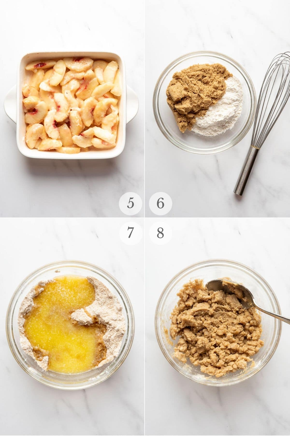 peach crumble recipe steps collage: preparing the topping