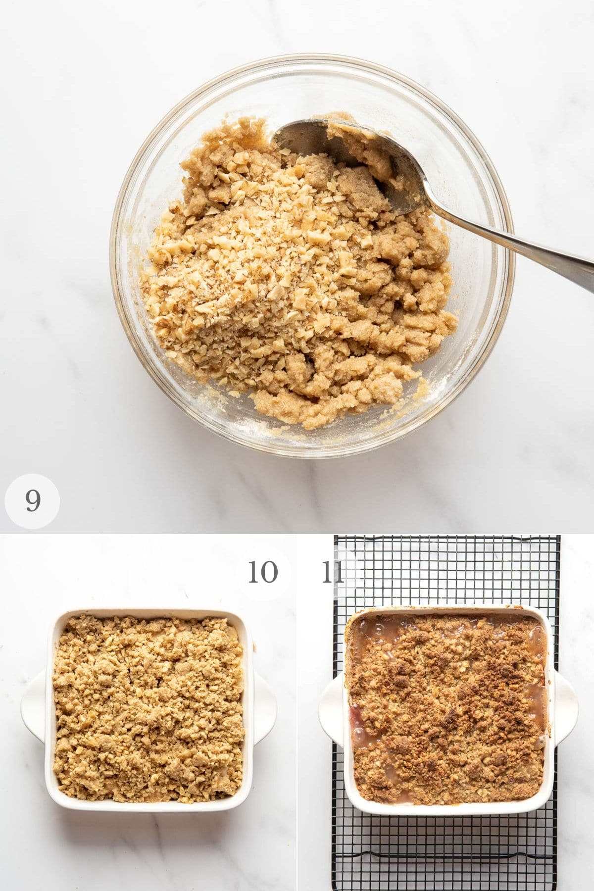 peach crumble recipe steps collage: baking and cooling