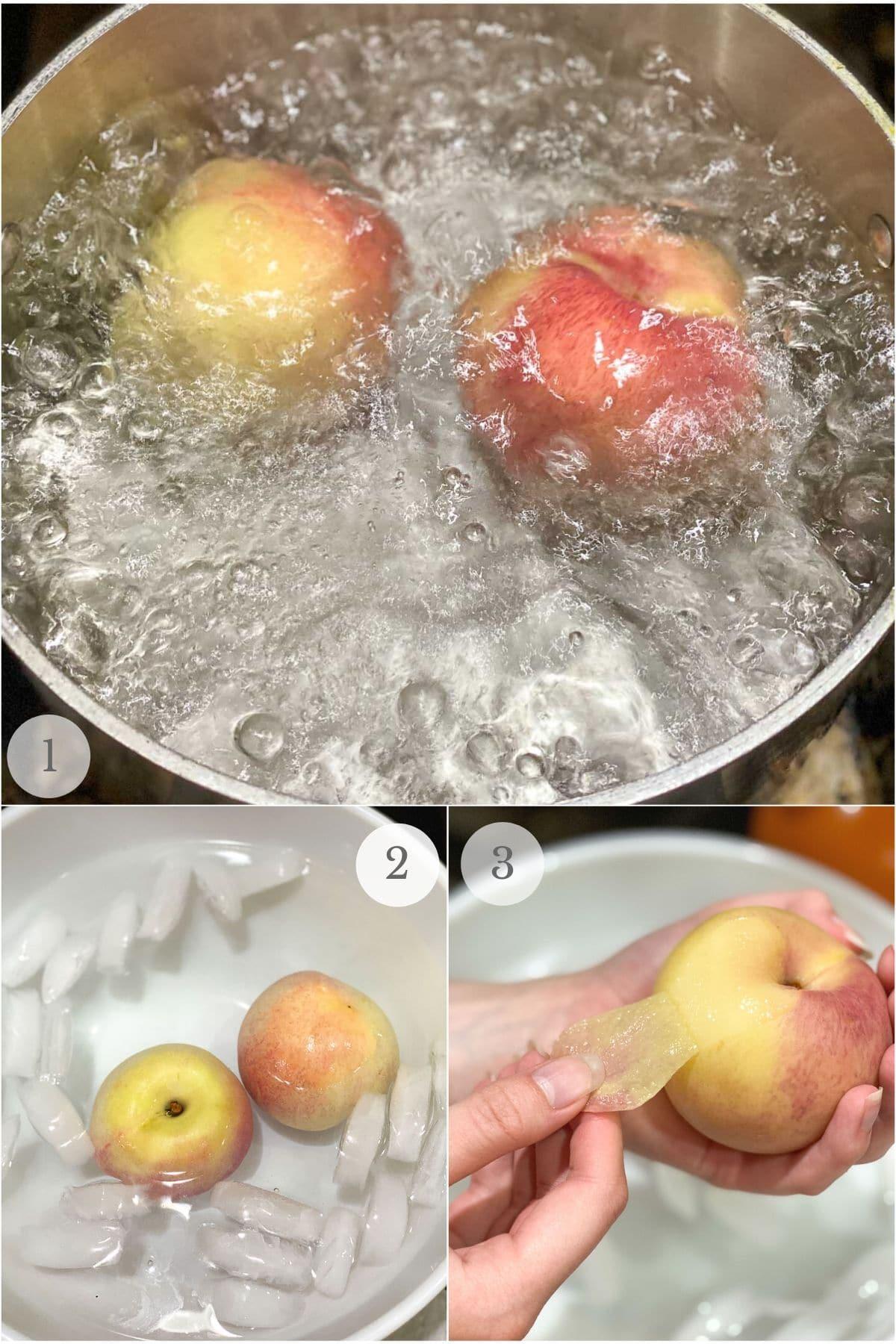 peeling a peach collage