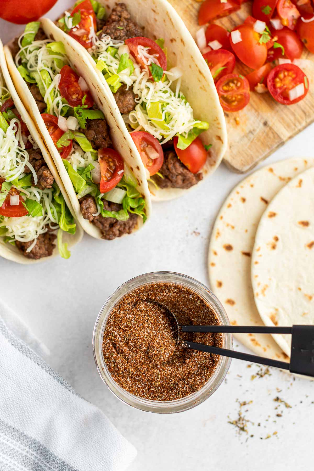 taco seasoning with beef tacos overhead