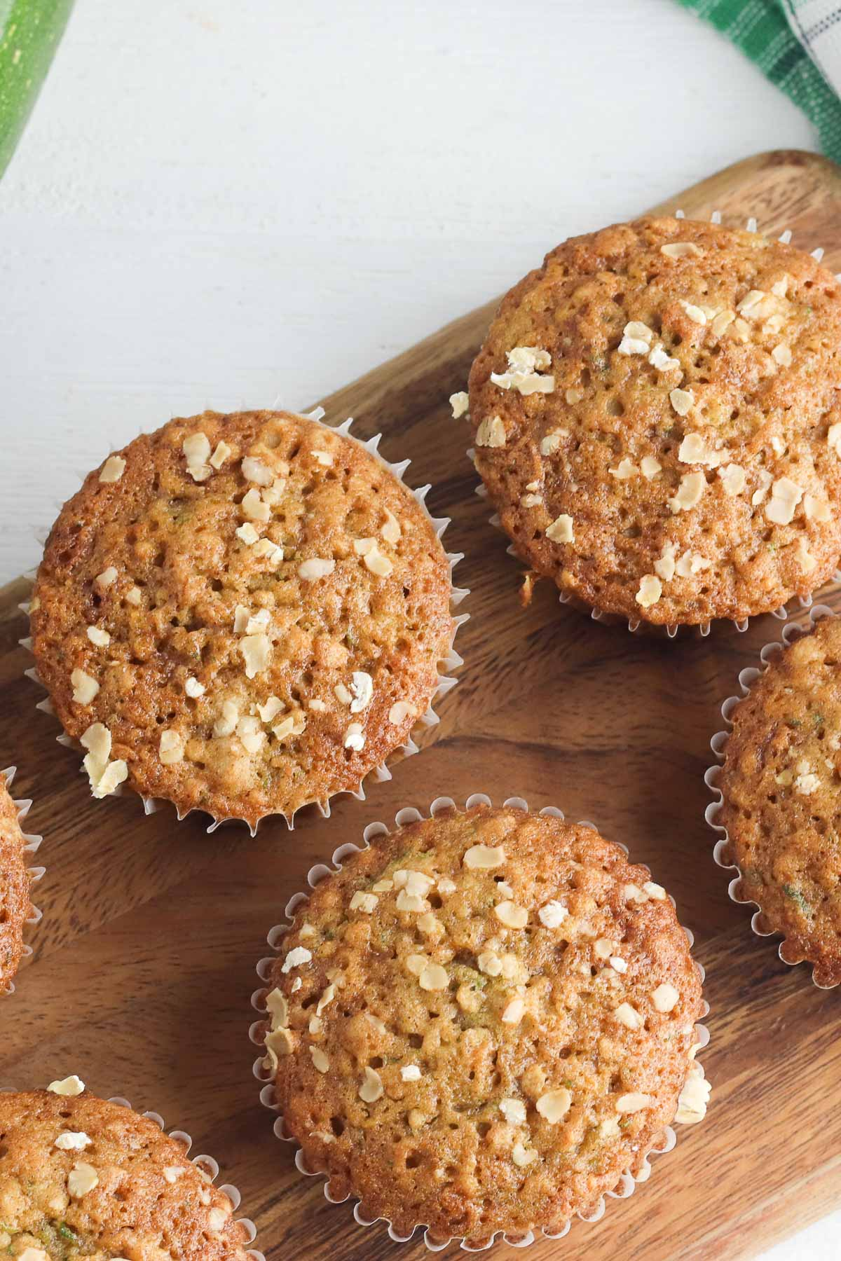 zucchini muffins from overhead