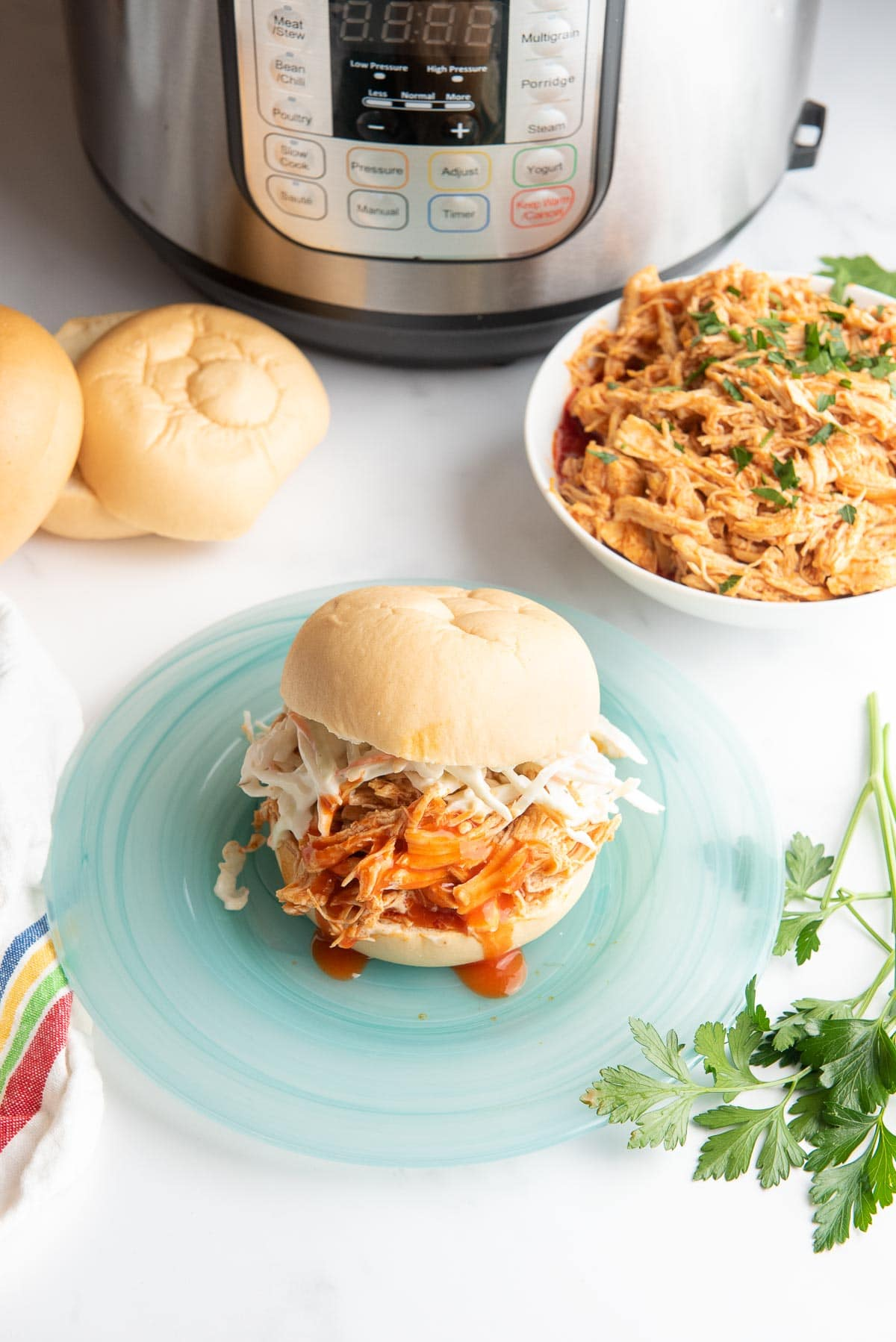 buffalo chicken sandwich with Instant Pot