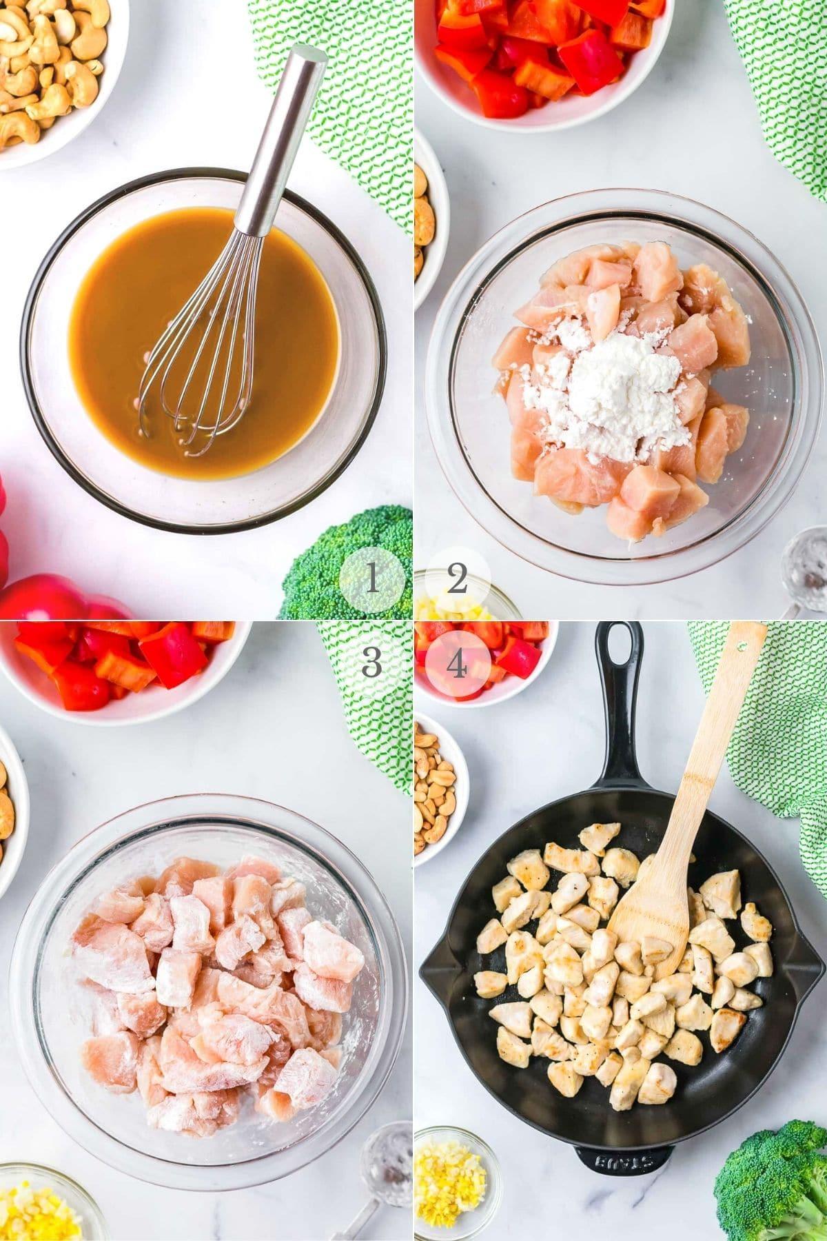 cashew chicken recipe steps 1-4