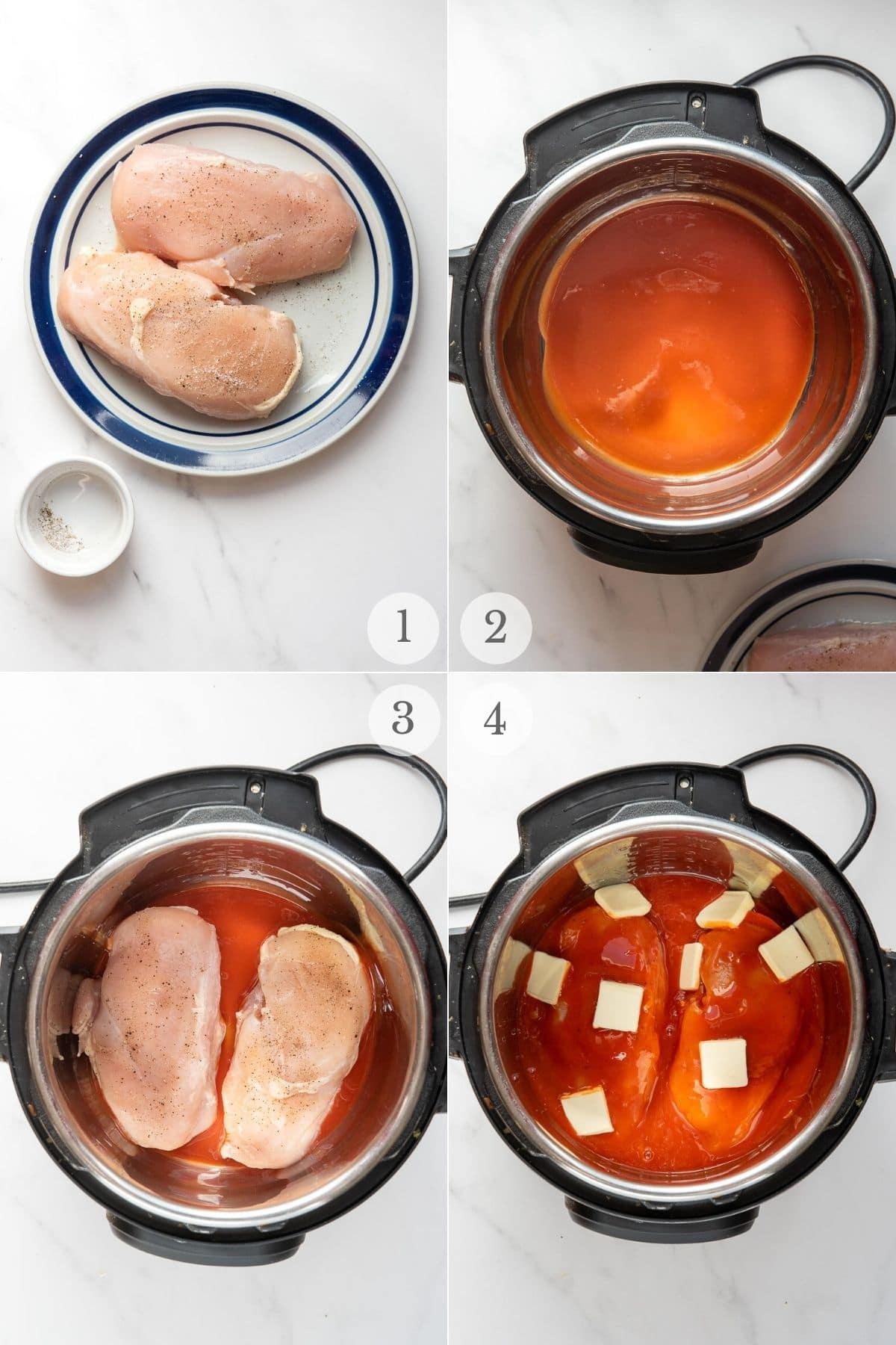 instant pot buffalo chicken recipe steps 1-4
