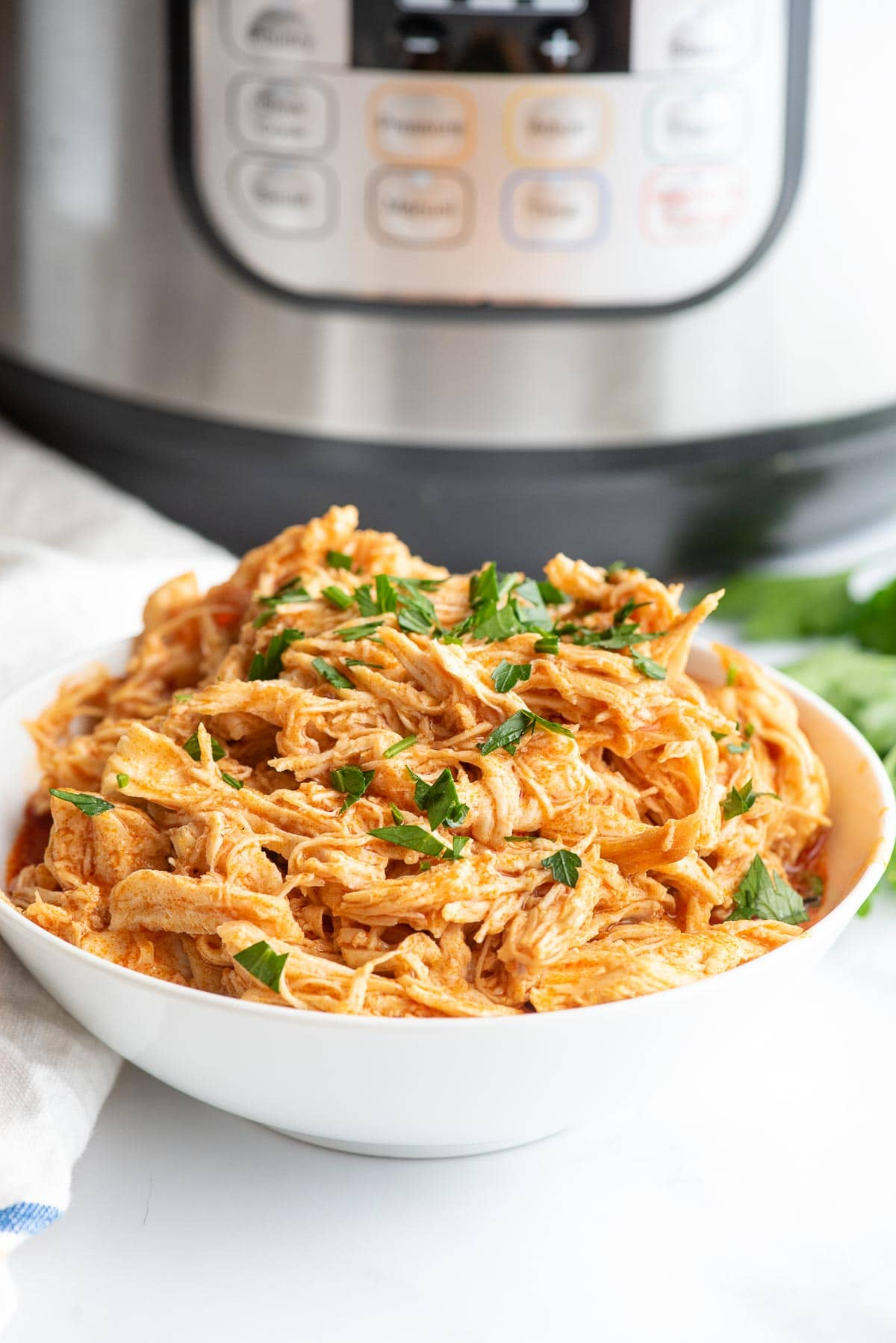 instant pot buffalo chicken shredded in bowl