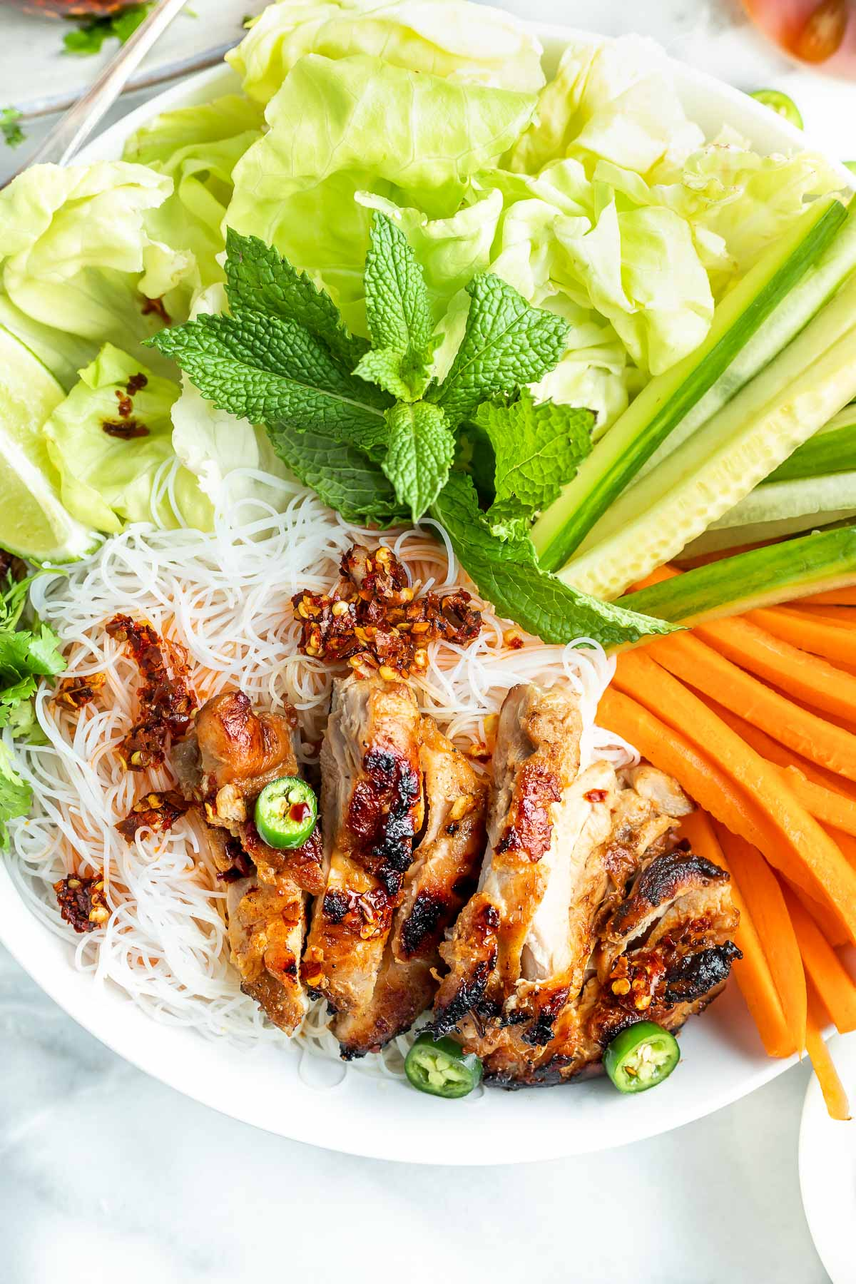sliced cooked chicken with Vietnamese salad