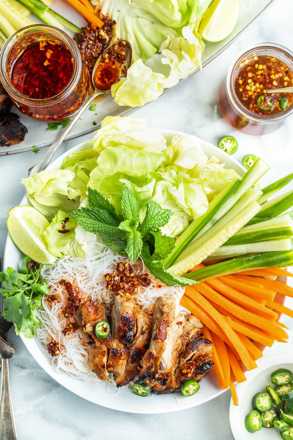 prepared Vietnamese chicken noodle bowl