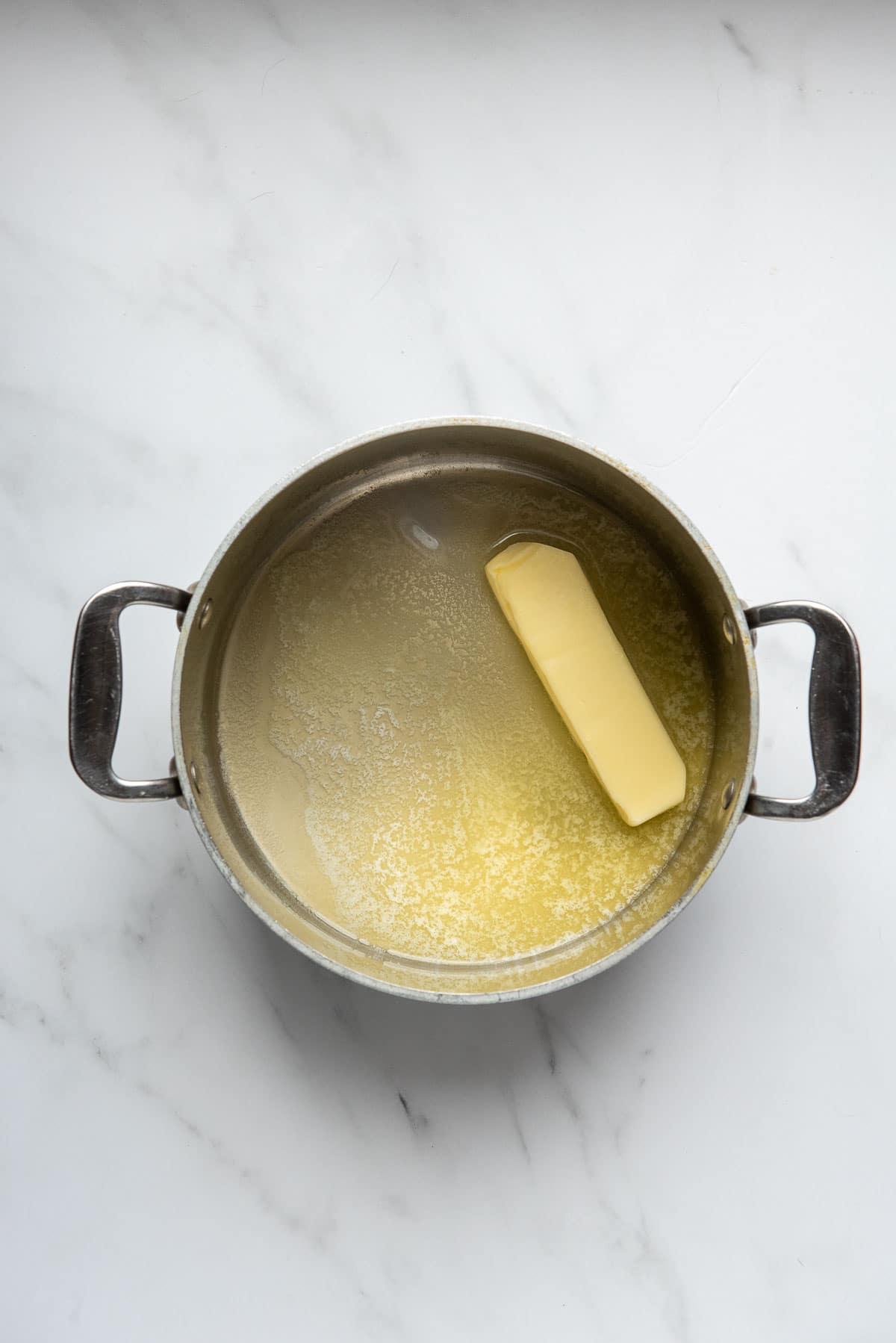 butter melting in a saucepan