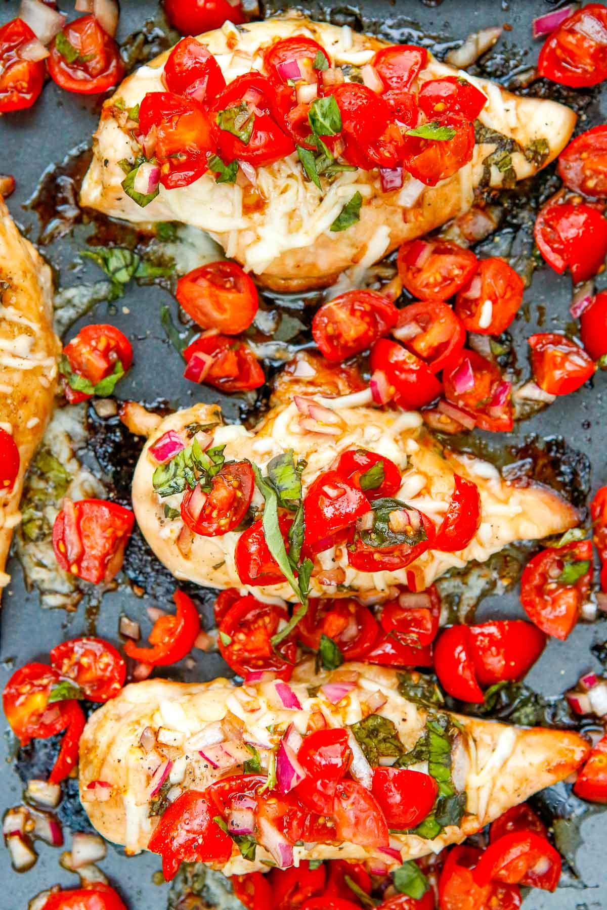 Chicken Bruschetta in a cooking pan