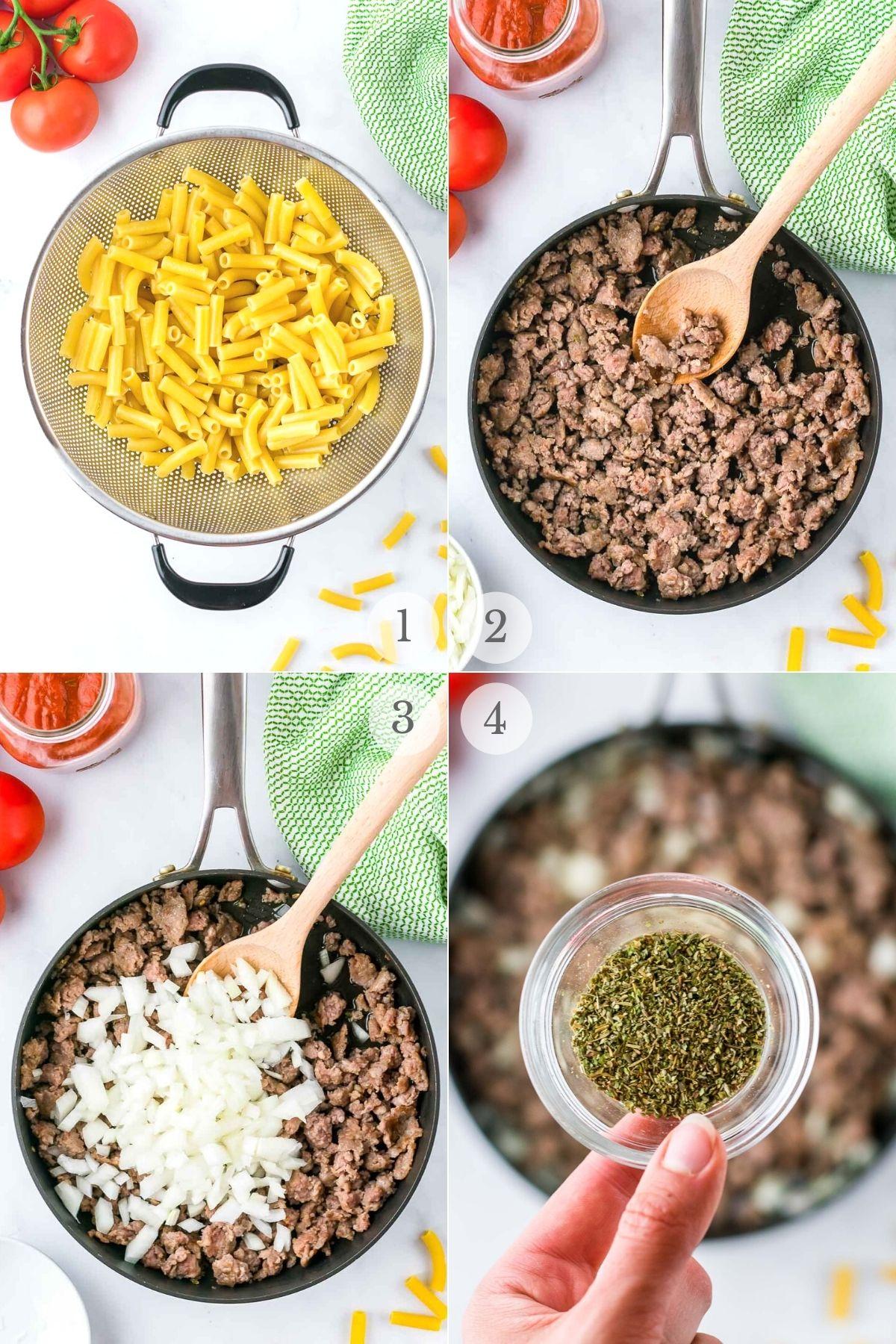 baked ziti recipe steps 1-4