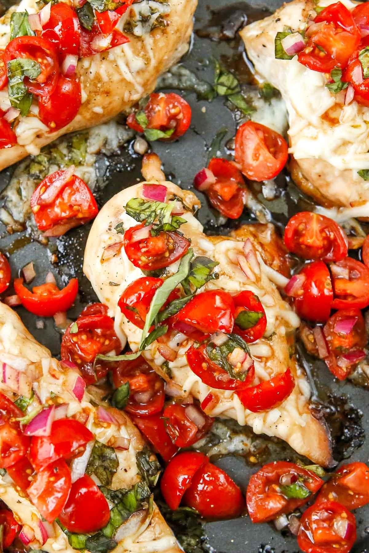 bruschetta chicken in pan