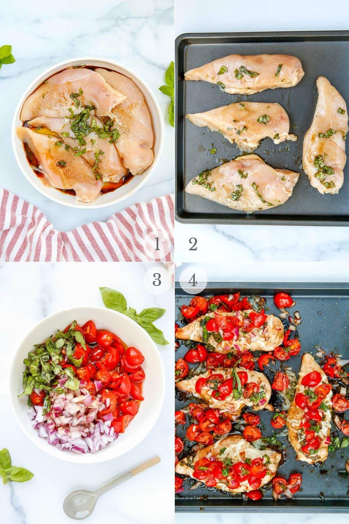 bruschetta chicken recipe steps collage
