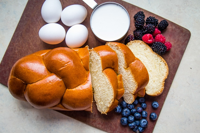challah bread with French toast ingredients