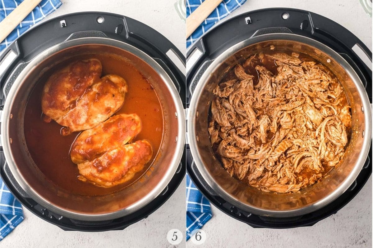 instant pot chicken tacos recipe steps 5-6