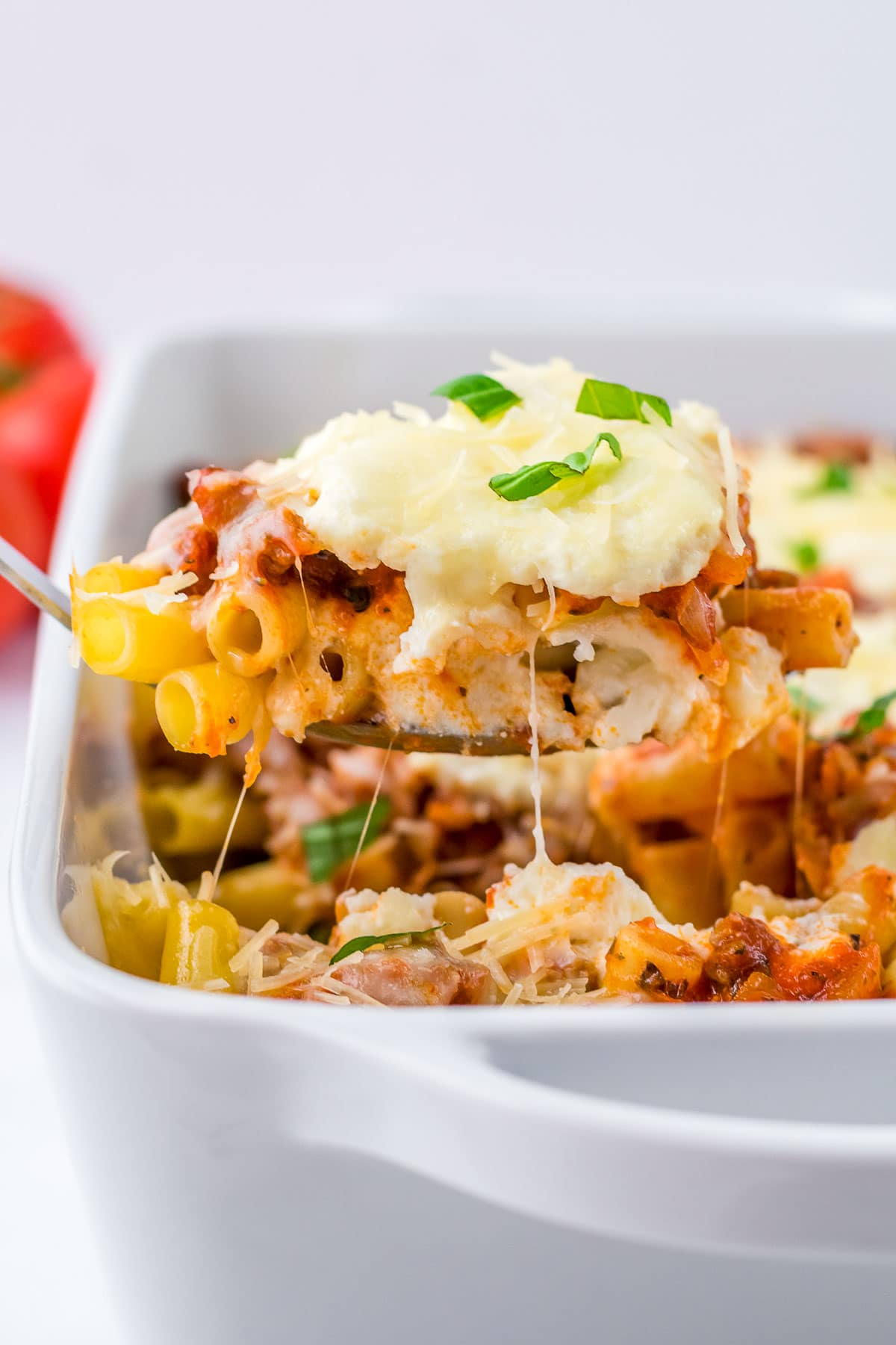 plate of baked ziti serving