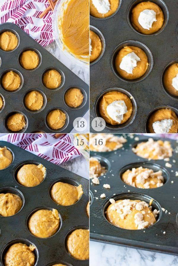 pumpkin cream cheese muffin recipe steps photo collage 4
