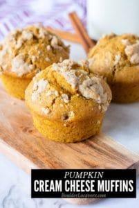 pumpkin cream cheese muffins title image
