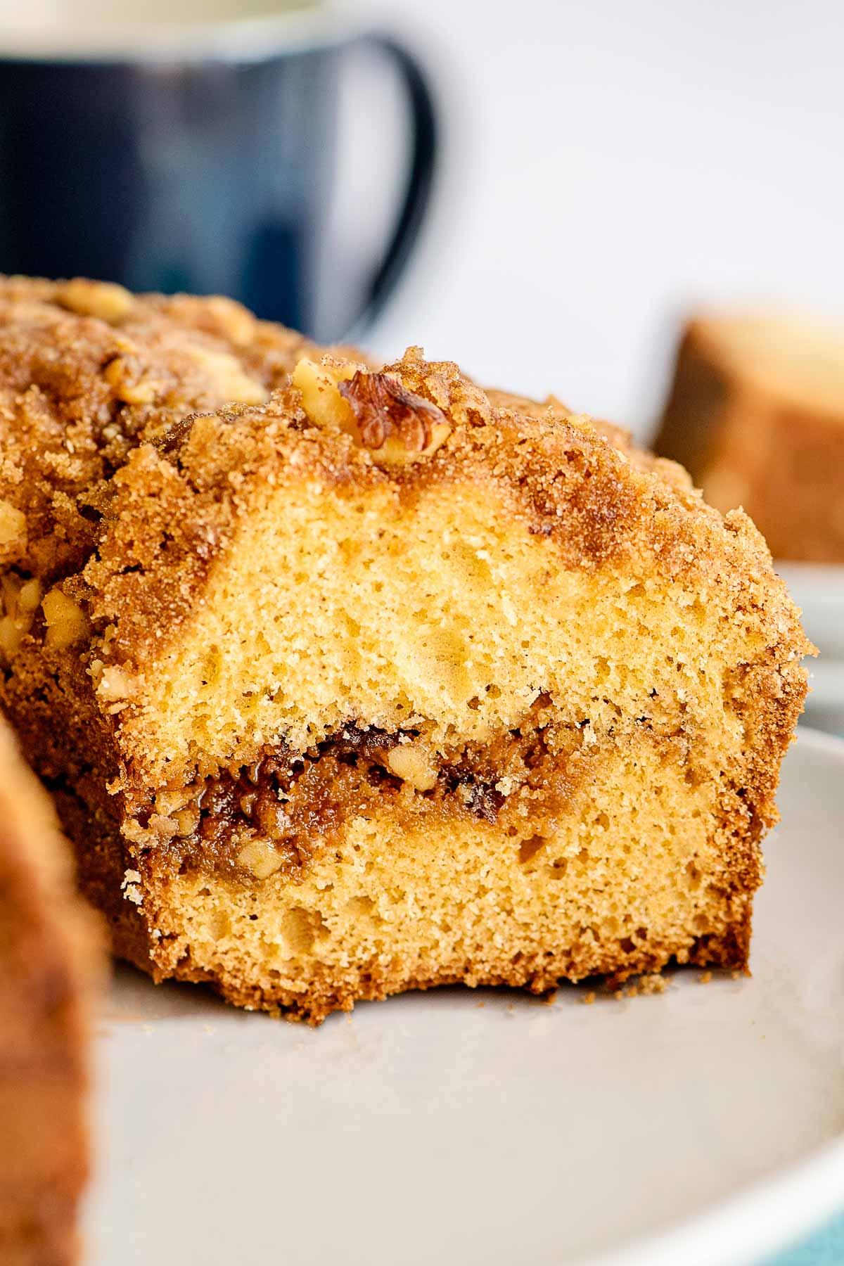 sour cream coffee cake inside view