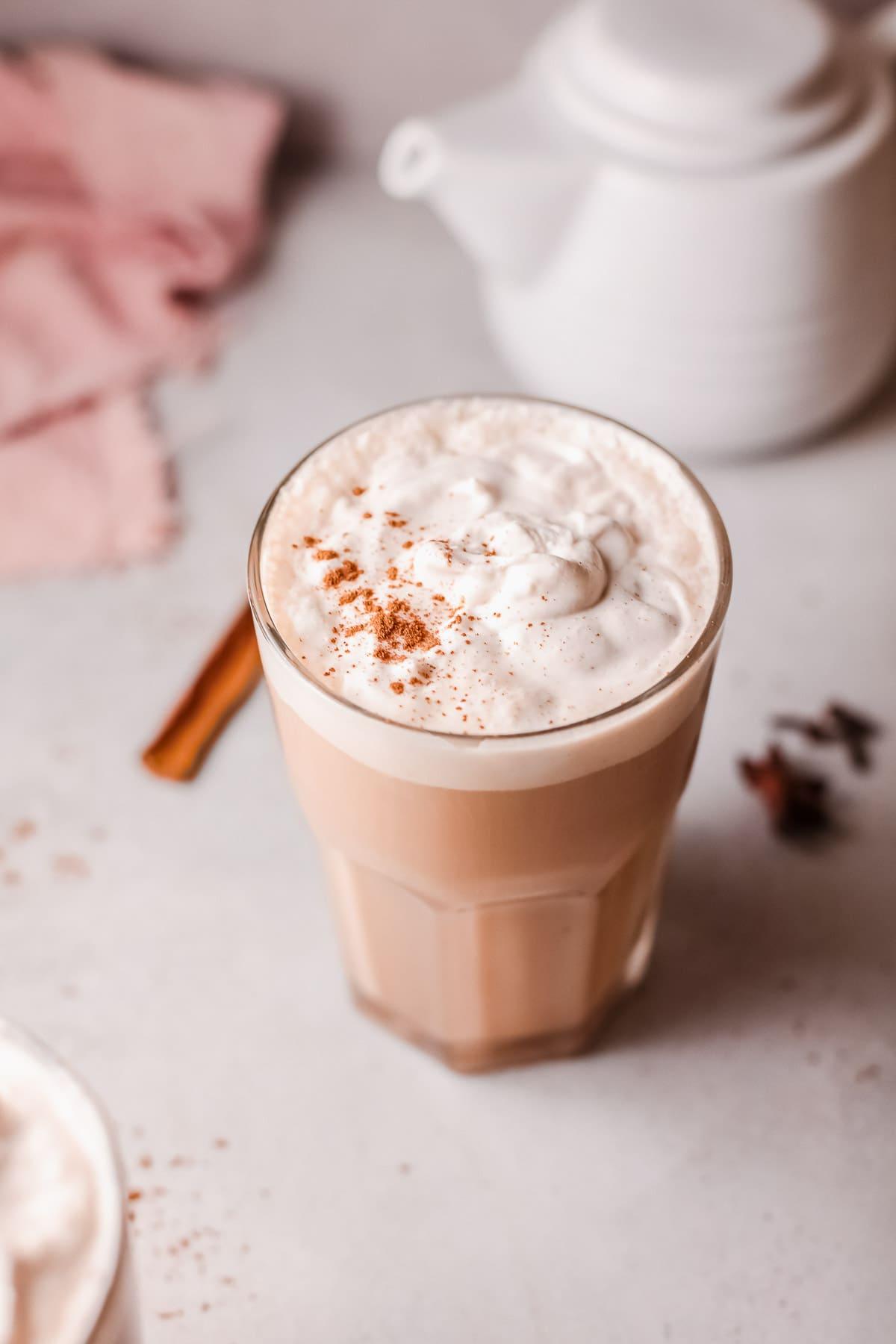 Chai latte with cinnamon