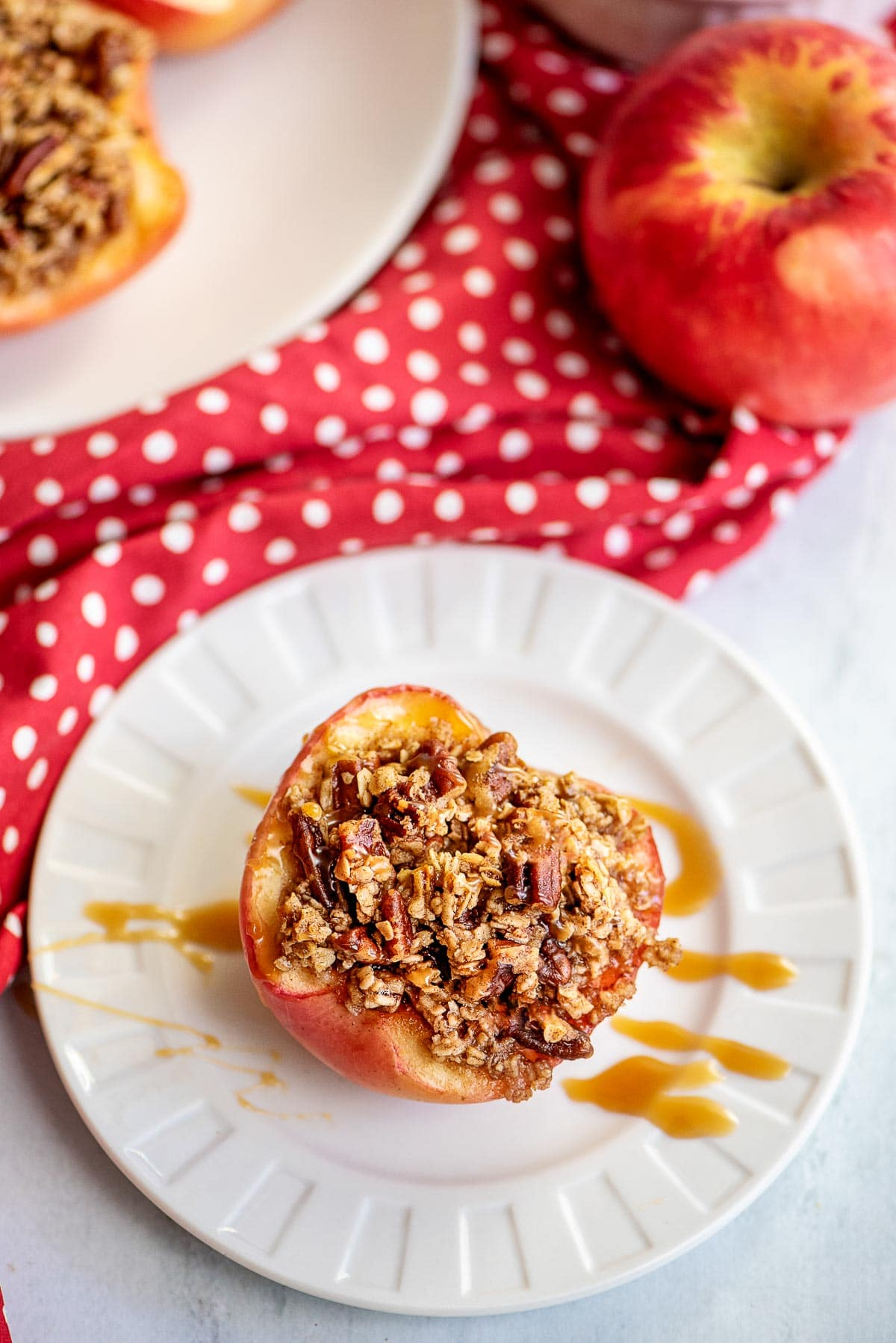 baked apple on plate