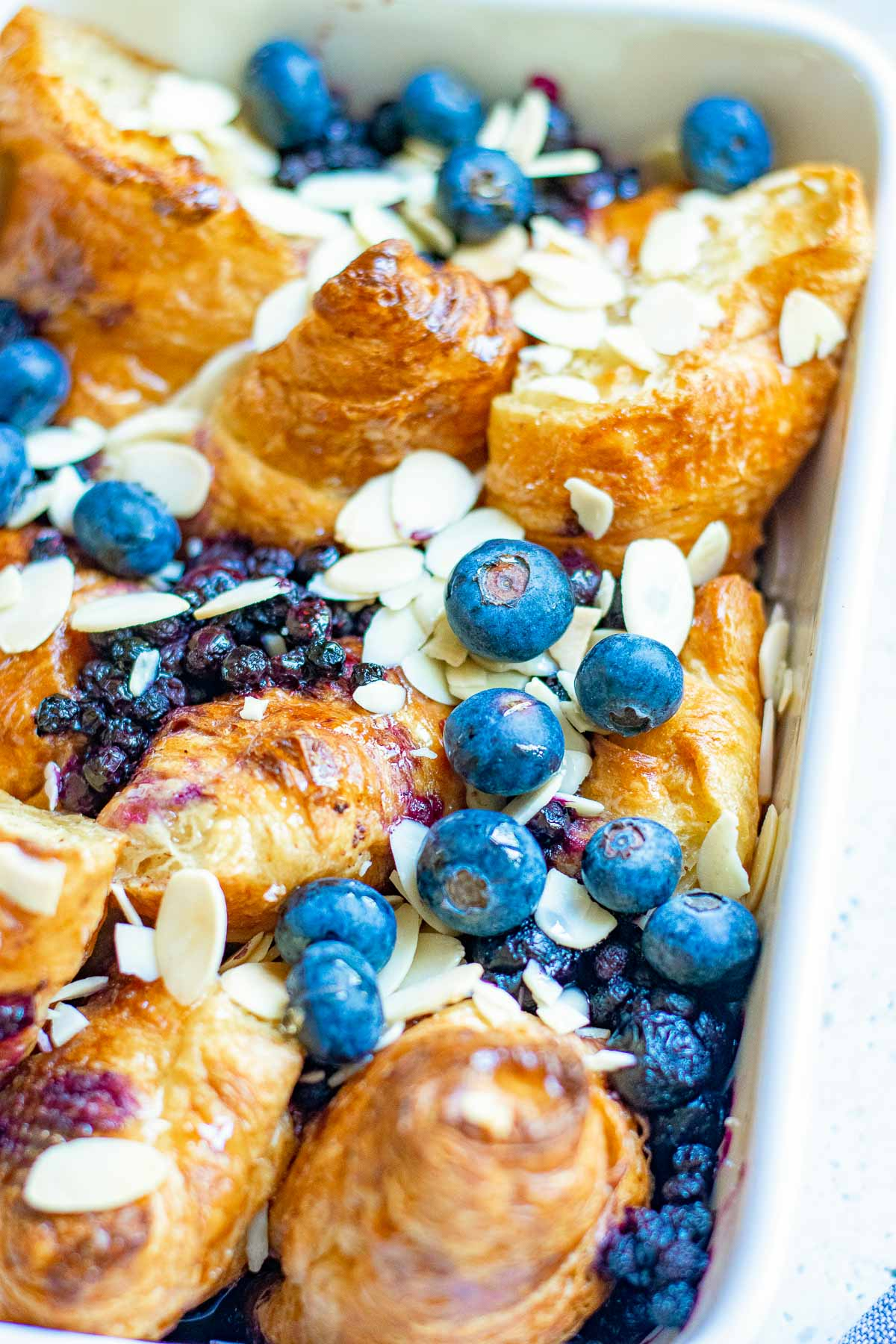 baked croissant french toast close up