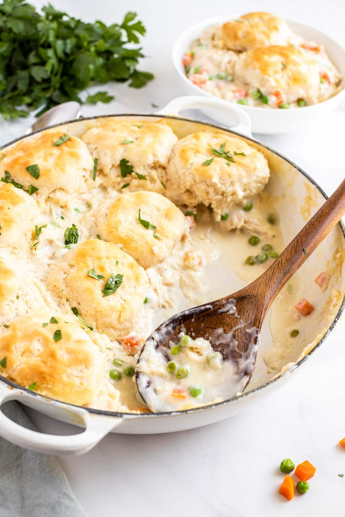 chicken and biscuits serving in baking dish