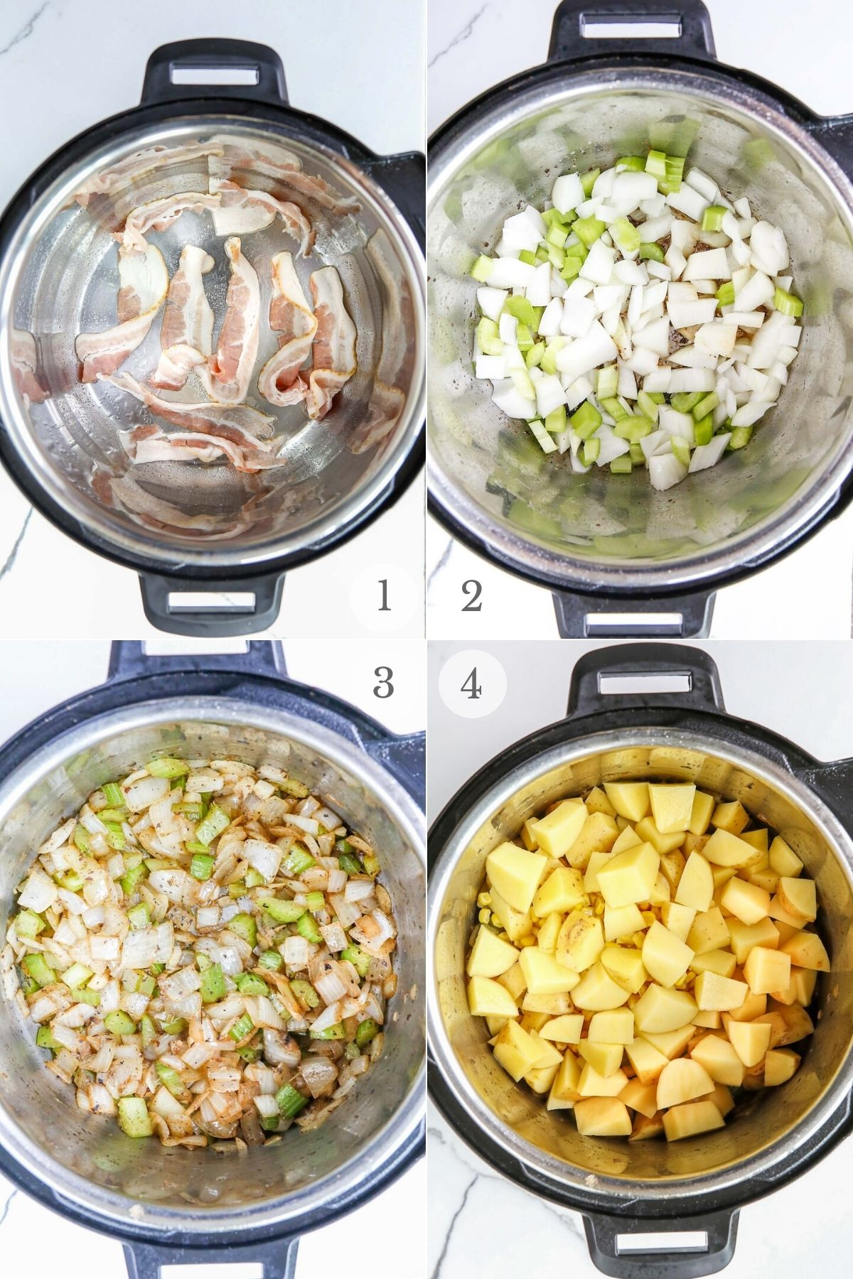 instant pot potato soup recipe steps 1-4