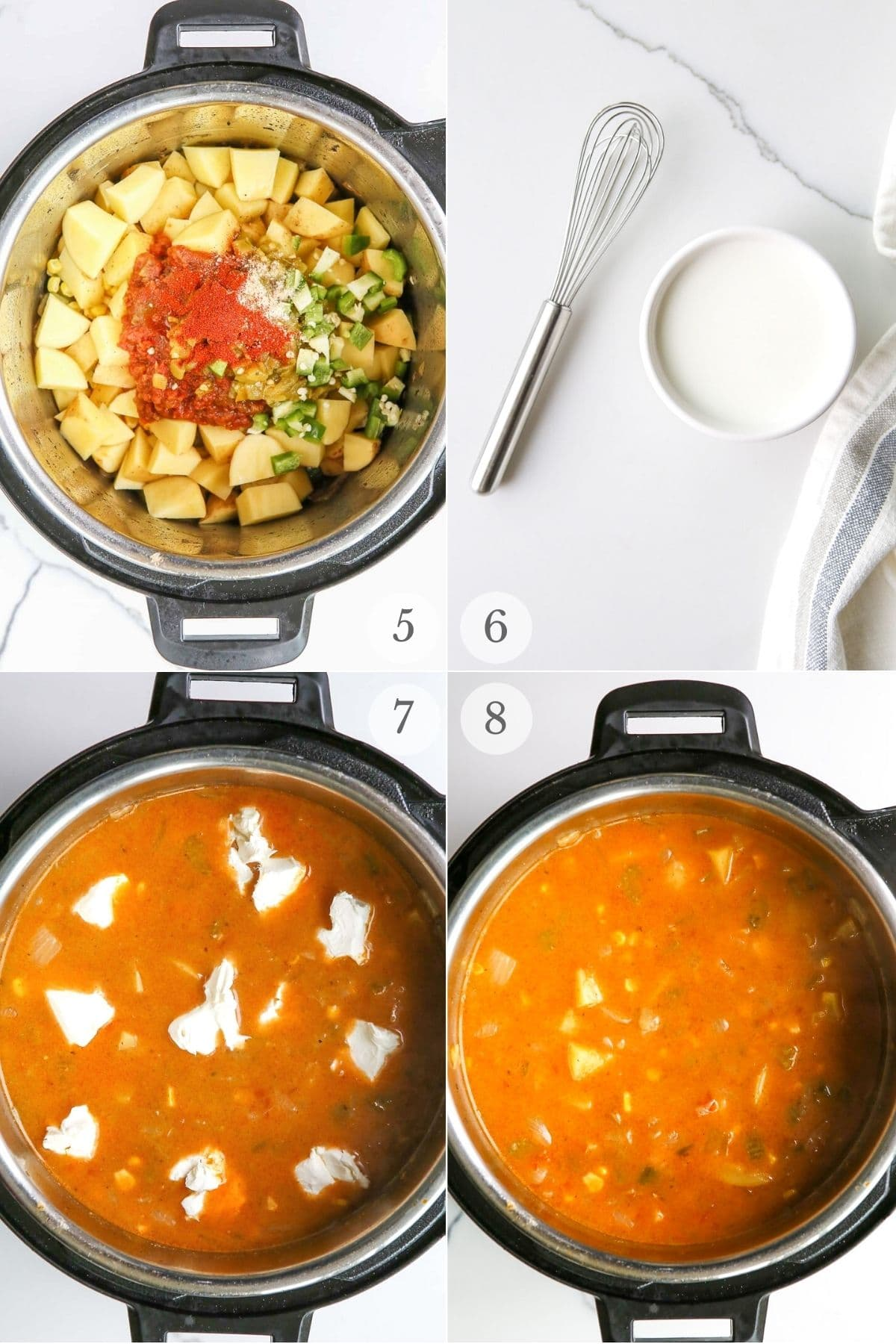 instant pot potato soup recipe steps 5-8