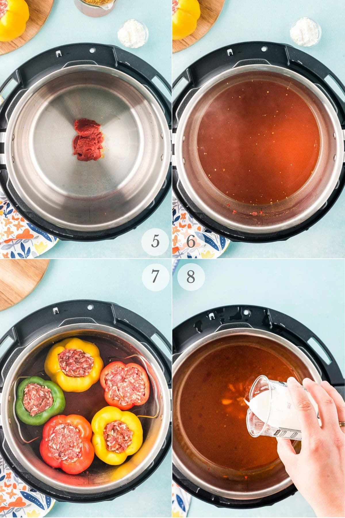 instant pot stuffed peppers recipe steps 5-8