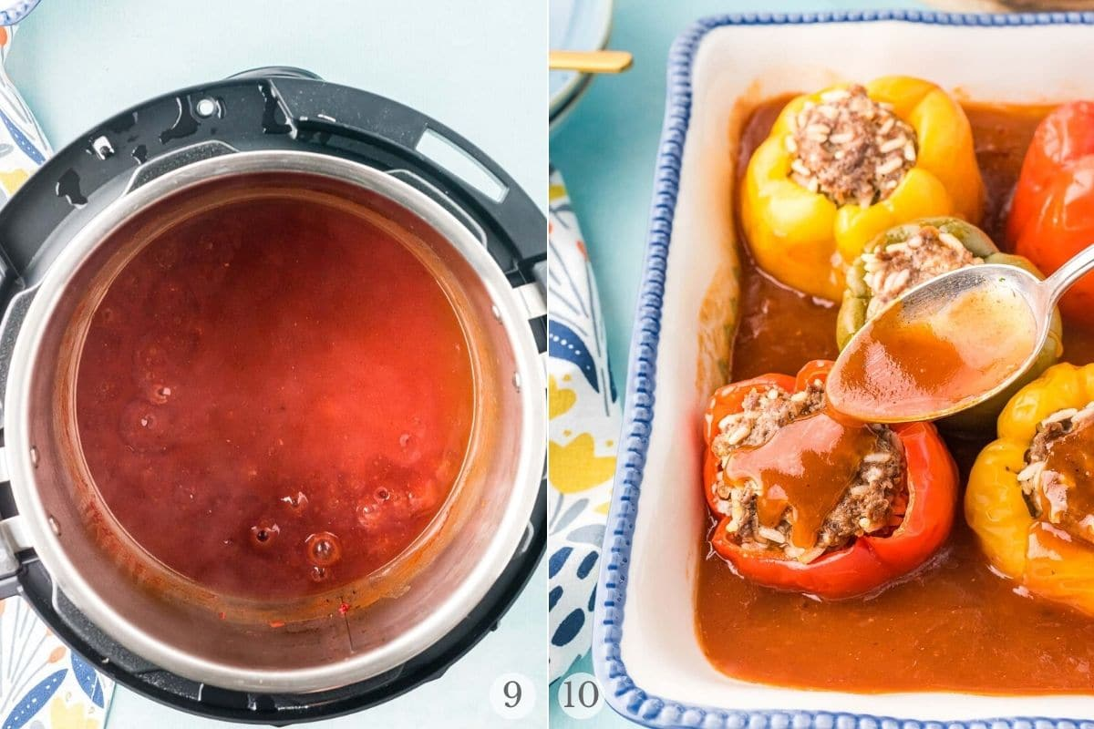 instant pot stuffed peppers recipe steps 9-10