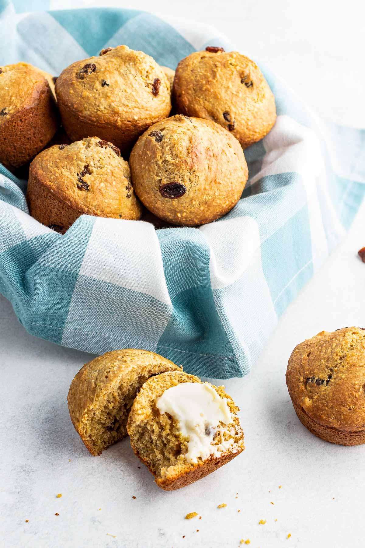 oat bran muffins in a basket