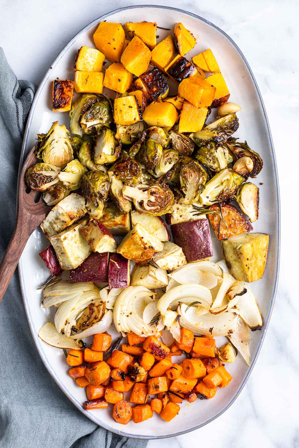 oven roasted vegetables on platter