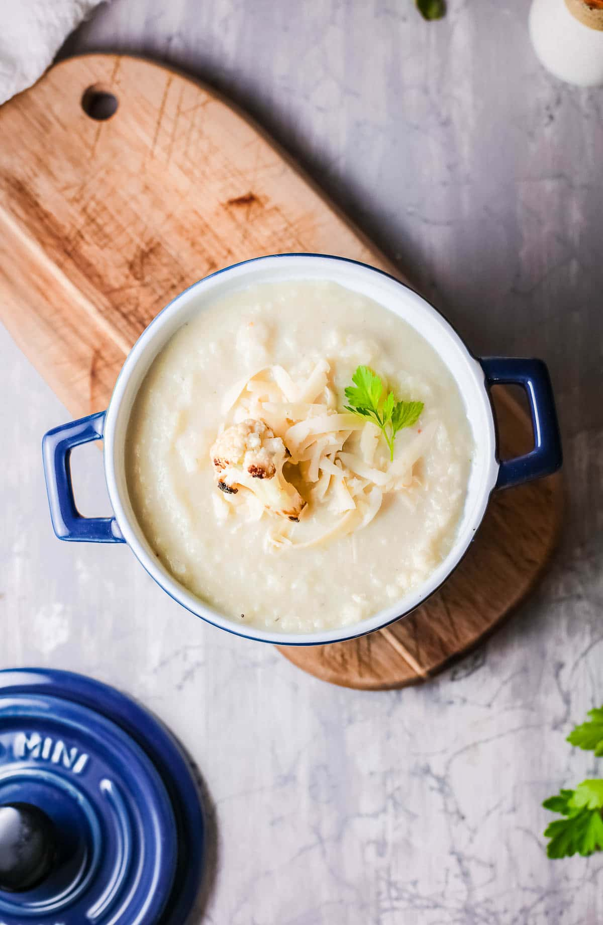 Cauliflower Cheese soup in bowl