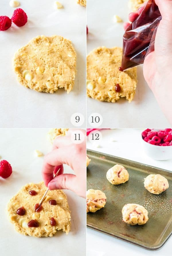 Raspberry Cheesecake Cookies recipe steps photo collage 3