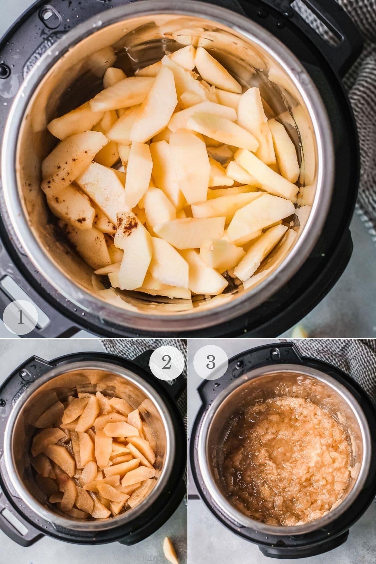 instant pot applesauce recipe steps 1-3
