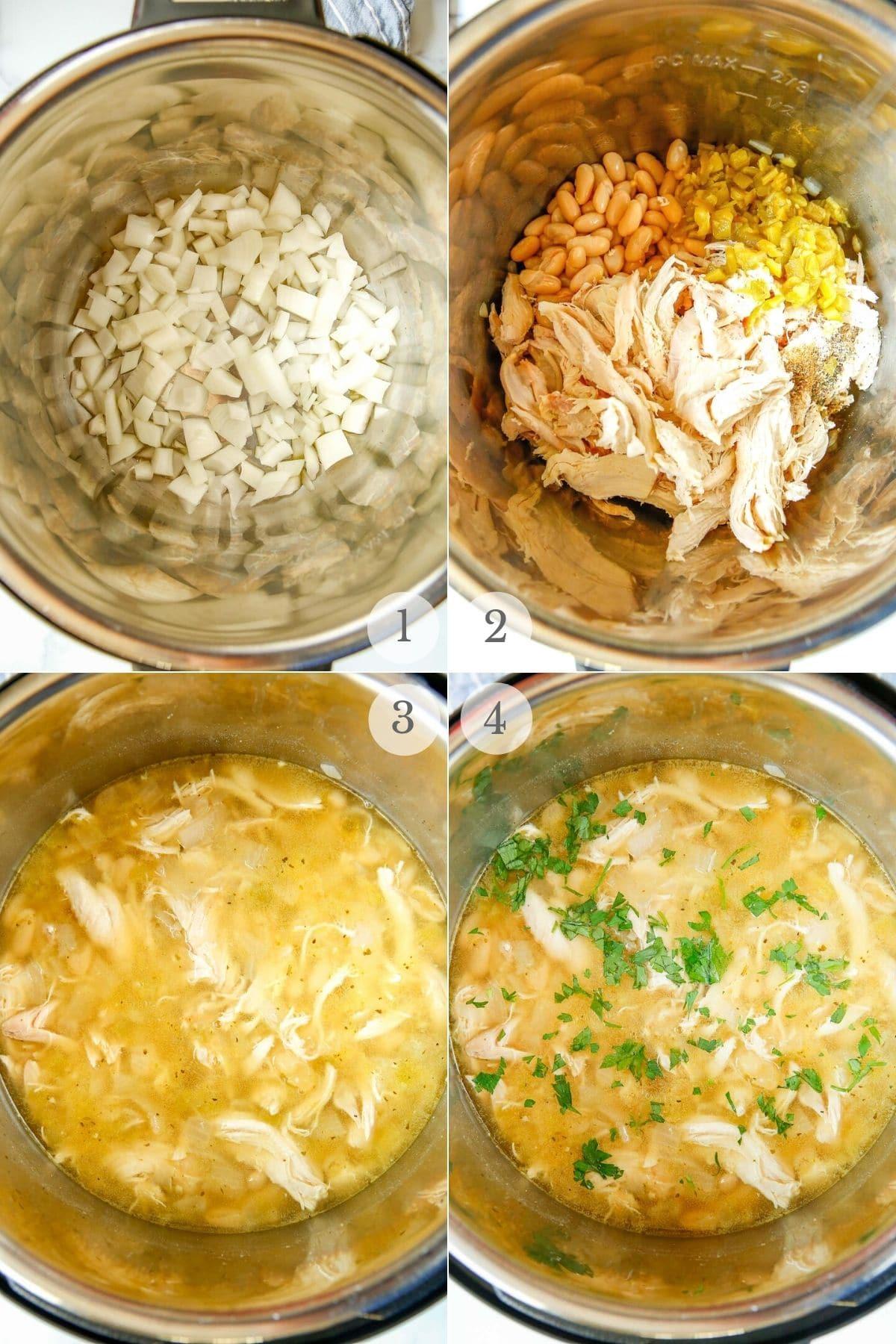 instant pot turkey chili recipe steps 1-4
