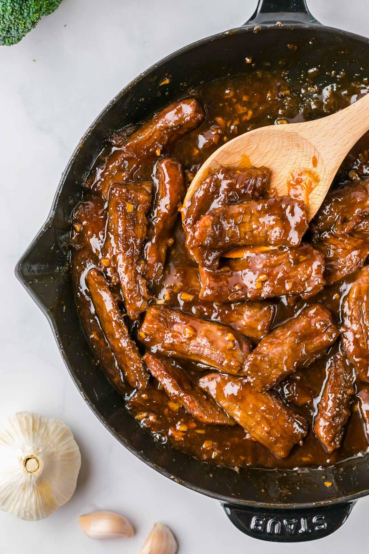mongolian beef in the pan overhead