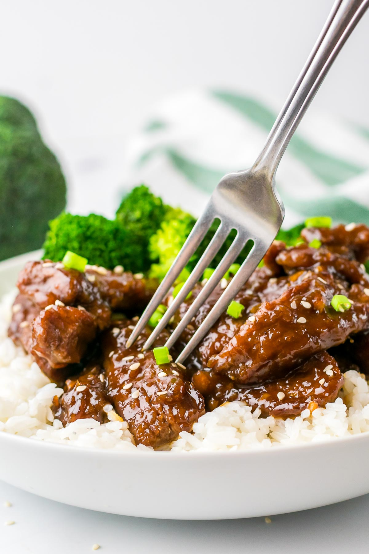 mongolian beef with fork