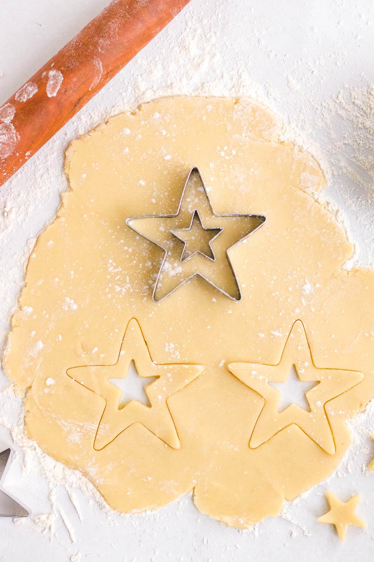 cutting out star cookies