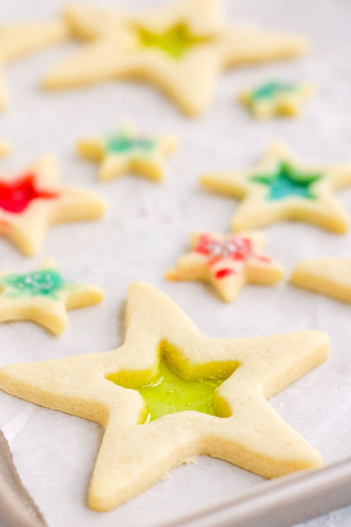 baked stained glass star cookies