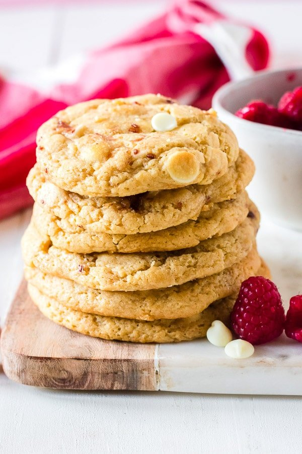 raspberry cheesecake cookies stacked (Subway cookies copycat recipe)