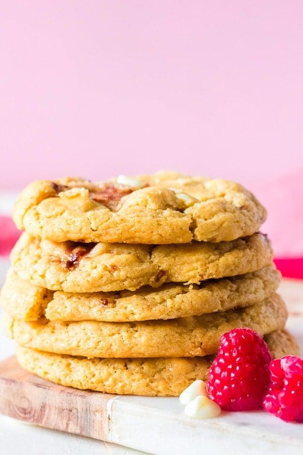 raspberry cheesecake cookiesside stack