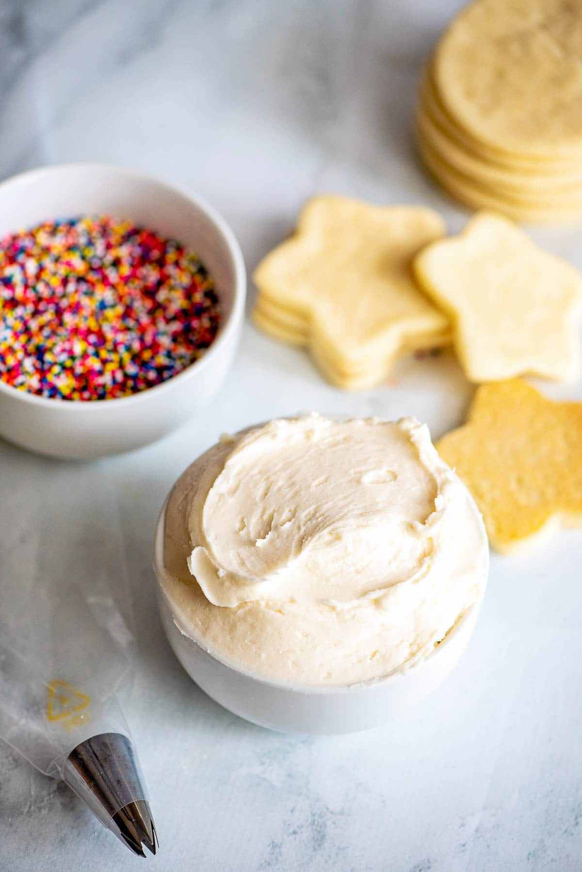sugar cookie frosting in a bowl
