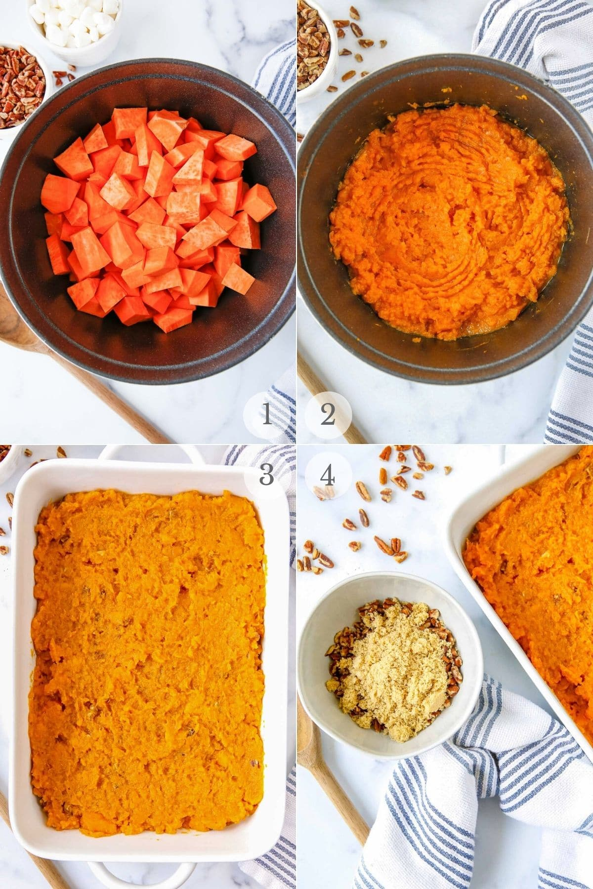 sweet potota casserole recipe steps 1-4