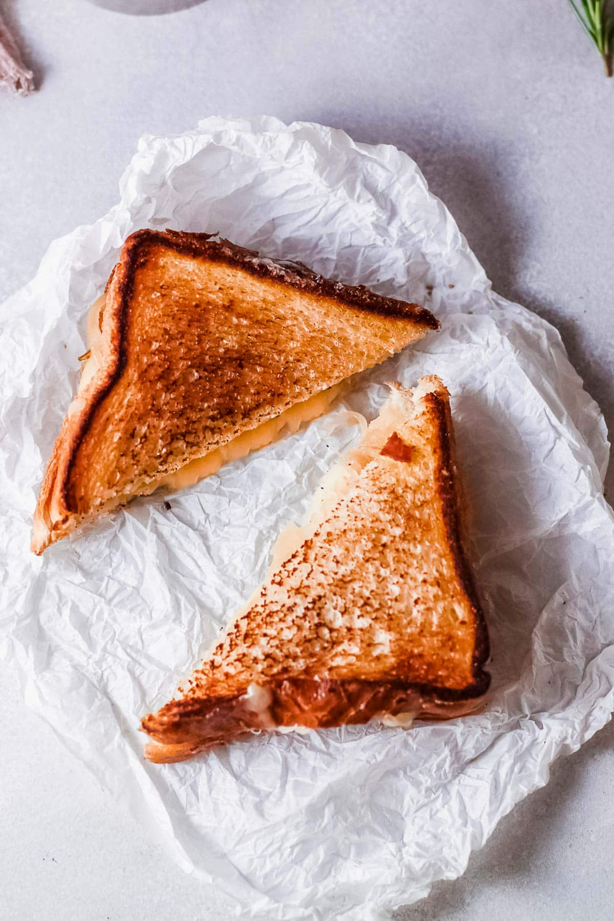 French onion grilled cheese sandwiches halves overhead