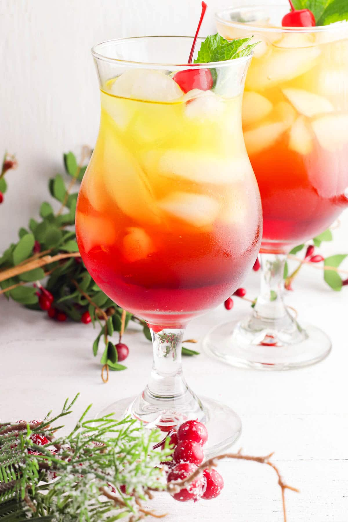 christmas punch in glasses